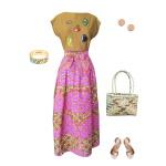Idée look - Jupe portefeuille en wax rose à imprimé japonisant