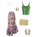 Idée look - Jupe portefeuille à volants en wax imprimé feuillage jaune et violet