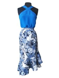 Idée look - Caraco d'inspiration seventies en crêpe de Chine bleu intense