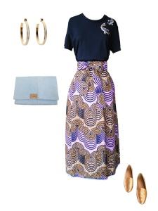 Idée look - Jupe portefeuille en wax géométrique rose clair et orangé