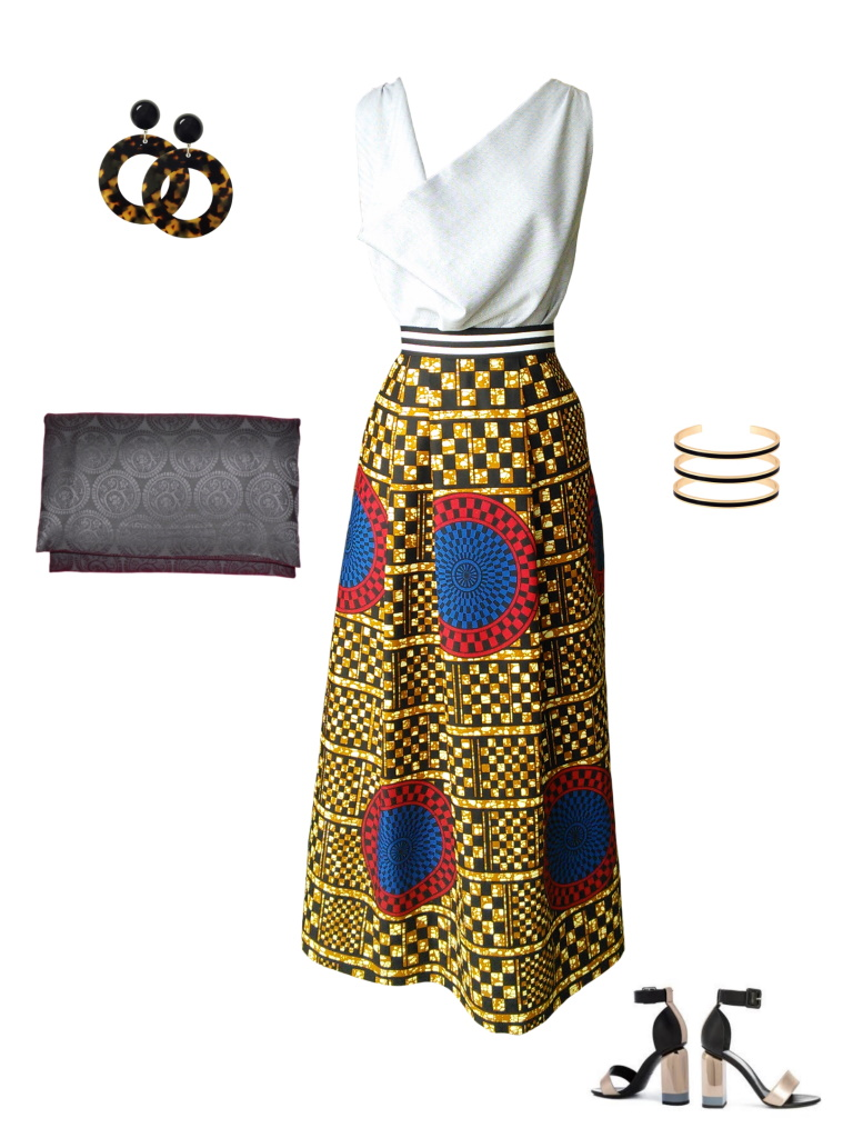 Idée look - Jupe portefeuille en wax géométrique à damier