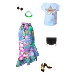 Idée look - Jupe portefeuille à volants en coton imprimé tropical fleuri