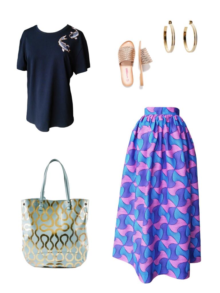 Idée look - Robe dos nu transformable en wax géométrique rose et bleu