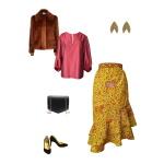 Idée look - Jupe portefeuille à volants en wax kaki et orangé