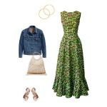Idée look - Robe longue évasée à volant en wax imprimé algues marines