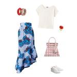 Idée look - Jupe portefeuille à volants asymétriques en wax imprimé paquets cadeaux