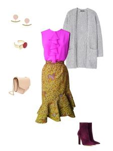 Idée look - Blouse à jabot façon chemise sans manches en crêpe de Chine rose fuchsia