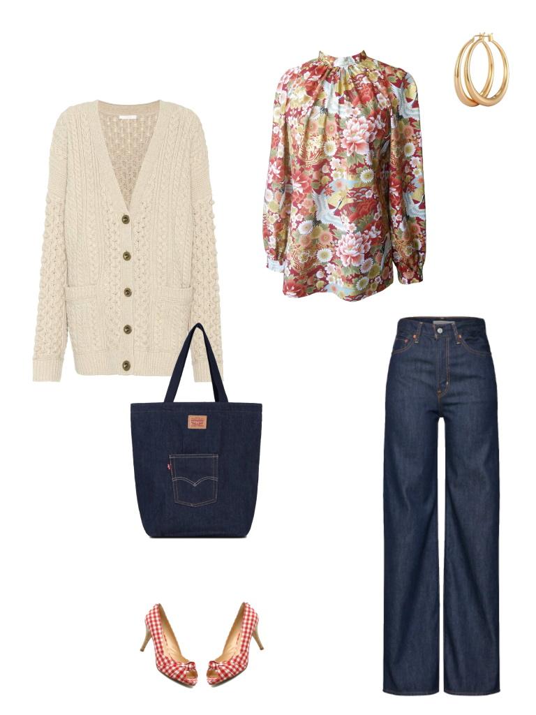 Idée look - Blouse à col montant en coton japonais imprimé fleurs et grues
