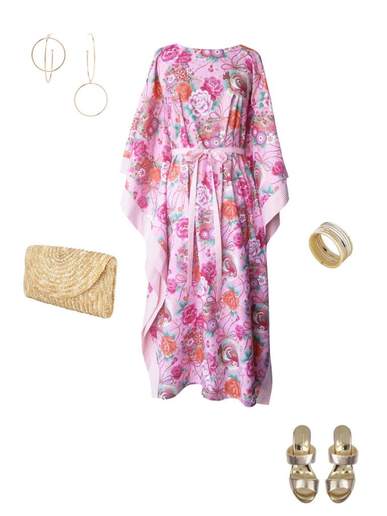 Idée look - Caftan long en coton japonais rose et finitions rayées
