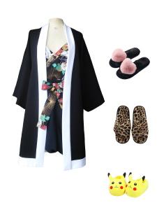 Idée look - Kimono long en jersey de viscose noir et blanc