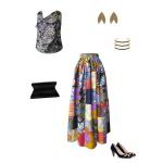 Idée look - Jupe longue taille froncée en patchwork de coton japonais et wax