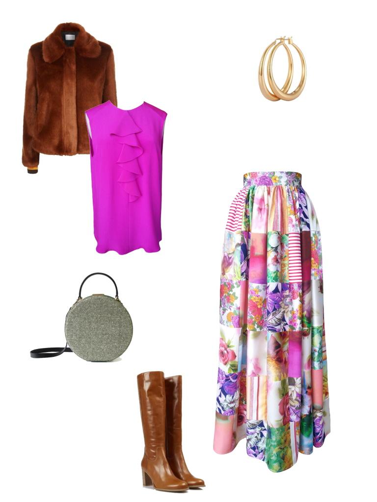 Idée look - Jupe longue taille froncée en patchwork de soie et coton