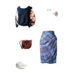 Idée look - Jupe portefeuille en laine prince de Galles bleu marine