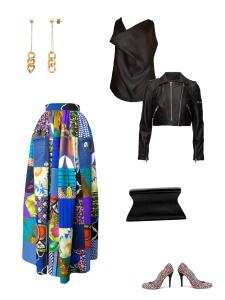 Idée look - Jupe longue taille froncée en patchwork de coton imprimé, wax et jean de récupération