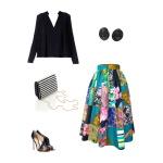 Idée look - Jupe midi taille froncée en patchwork de coton imprimé, wax et coton japonais
