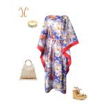 Idée look - Caftan long en coton japonais bleu et finitions rouge corail