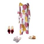Idée look - Caftan long à imprimé floral japonisant