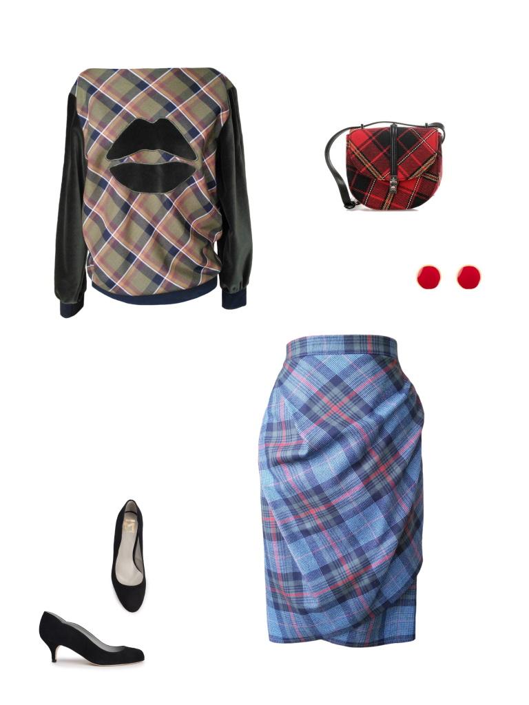 Idée look - Sweat col bateau en laine tartan mélangée et velours de coton brodé
