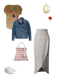 Idée look - Jupe portefeuille en laine prince de Galles
