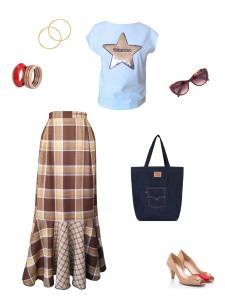 Idée look - Jupe portefeuille à volant en patchwork de laine tartan