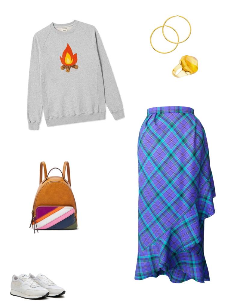Idée look - Jupe portefeuille asymétrique à volant frangé en laine tartan