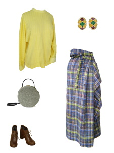 Idée look - Jupe longue drapée asymétrique en laine mohair à motif tartan gris et vert anis