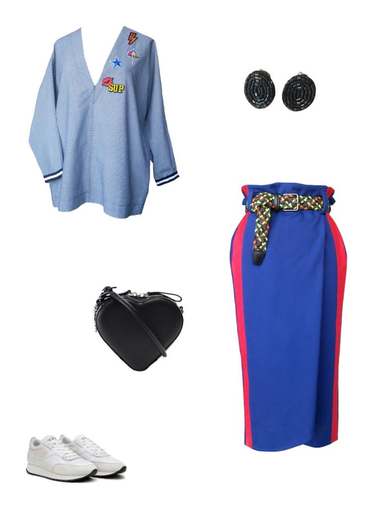 Idée look - Jupe portefeuille effet sportswear en jersey de viscose et satin de coton