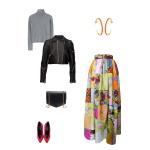 Idée look - Jupe longue taille froncée en patchwork de coton et soie