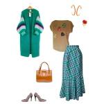 Idée look - Jupe portefeuille à volant frangé en laine tartan vert émeraude