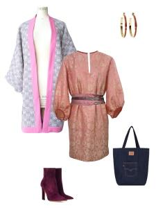 Idée look - Robe tunique d'inspiration seventies en jacquard de soie indienne et sa ceinture upcyclée