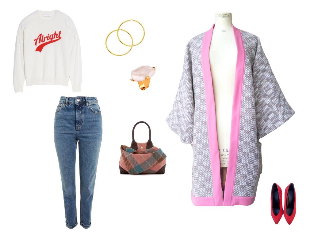 Idée look - Kimono long en laine à poches plaquées