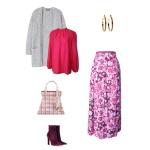 Idée look - Jupe portefeuille en coton imprimé fleurs de pavot et rayures