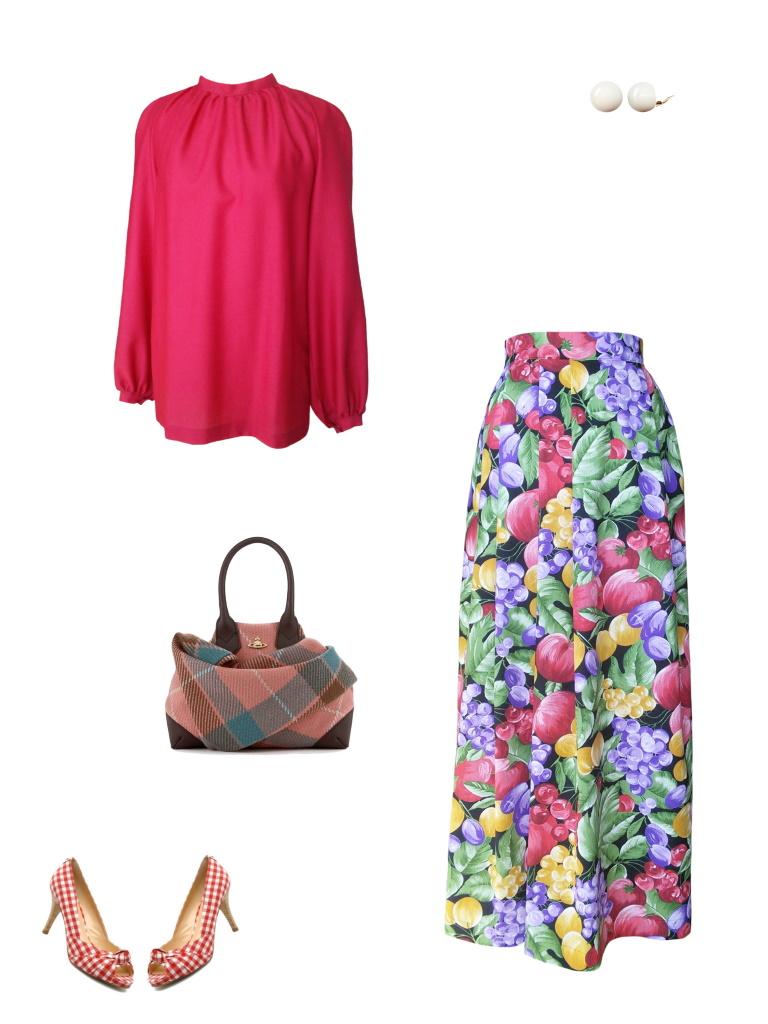 Idée look - Jupe portefeuille en coton imprimé fruits multicolores