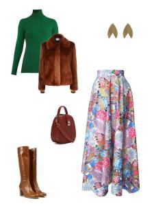 Idée look - Jupe foulard revisitée en coton japonais imprimé fleurs et paons