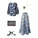 Idée look - Tunique d'inspiration seventies en coton japonais gaufré imprimé fleurs de pommier