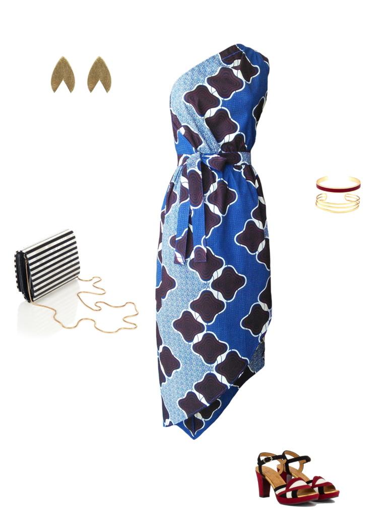 Idée look - Robe one shoulder en wax imprimé graphique