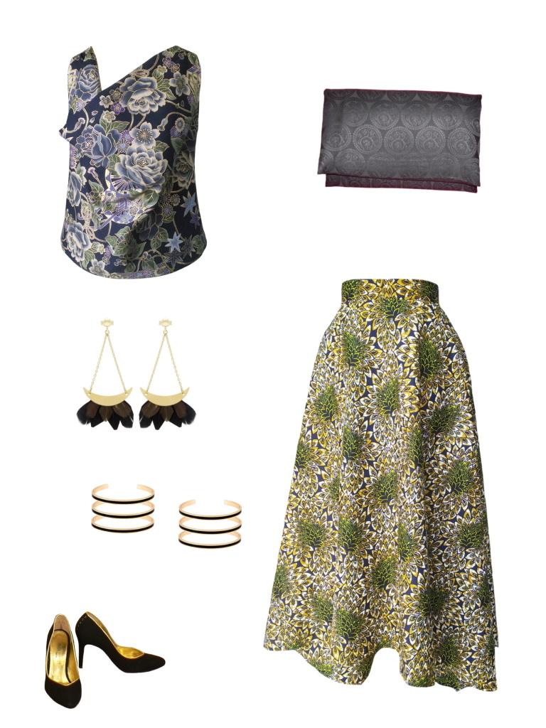 Idée look - Jupe foulard revisitée en wax imprimé écailles