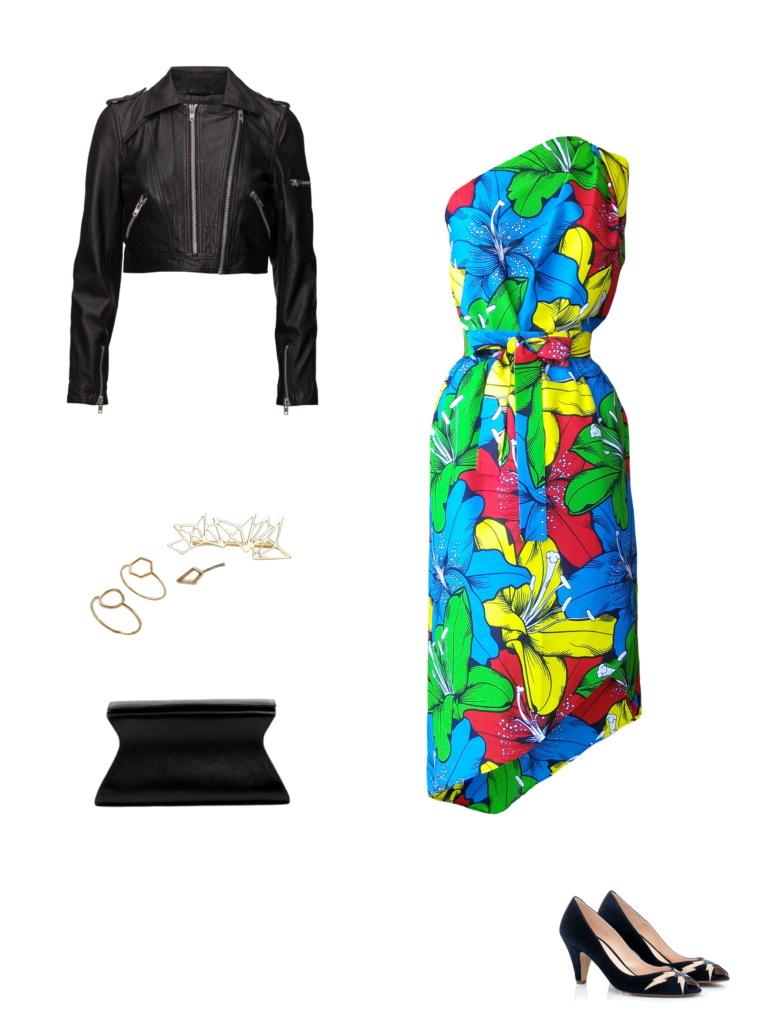 Idée look - Robe trompe-l'œil asymétrique en wax imprimé lys multicolores