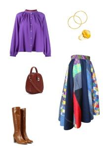 Idée look - Jupe midi asymétrique en patchwork de soie et jean de récupération