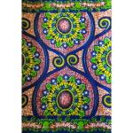 Wax multicolore à motifs fleurs et arabesques